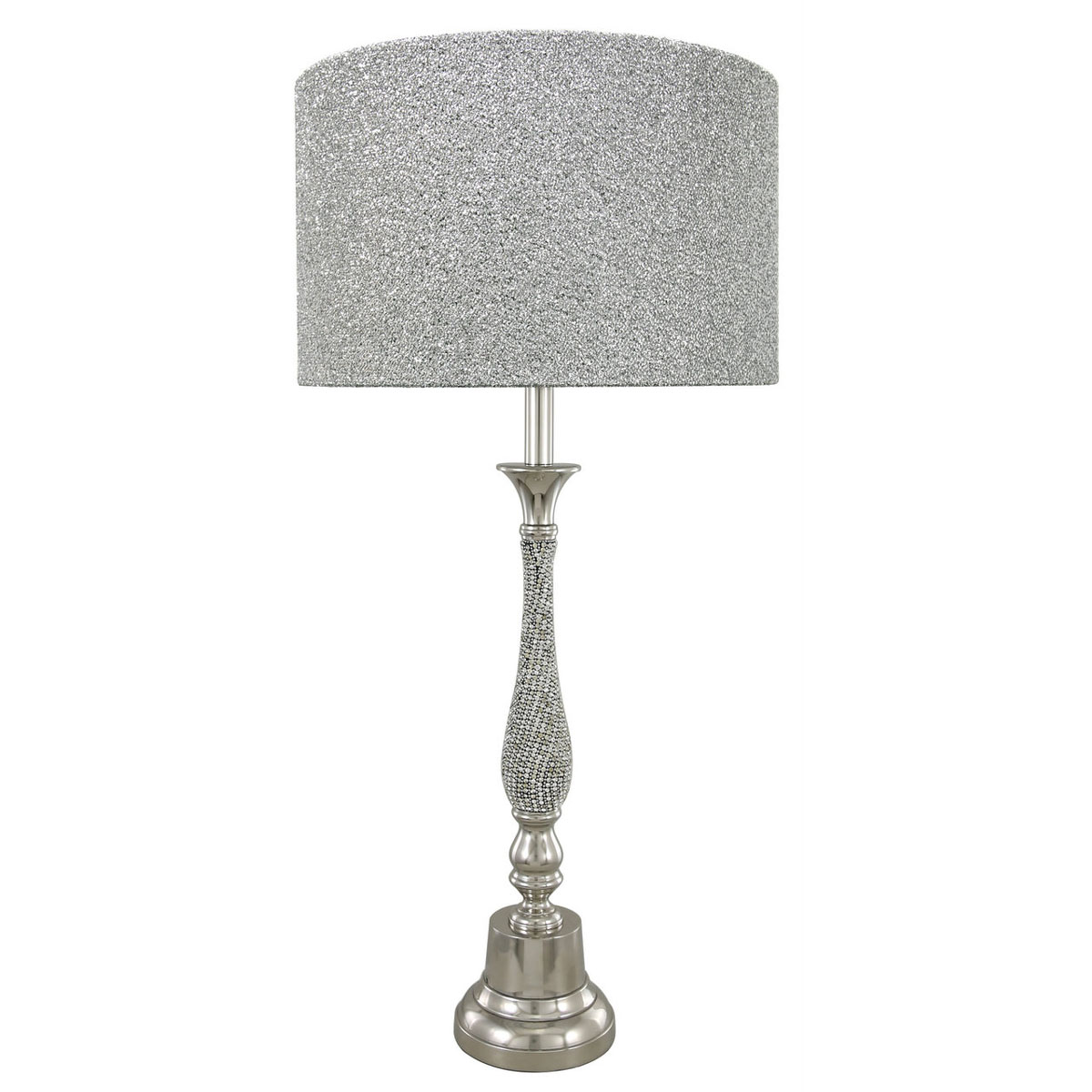 Floor Lamp With 48cm Glitter Drum Shade