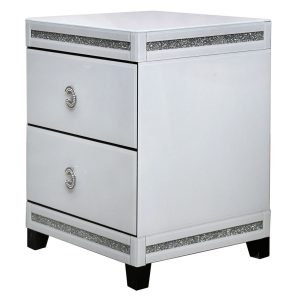 White Cleo 2 Drawer Bedside Cabinet