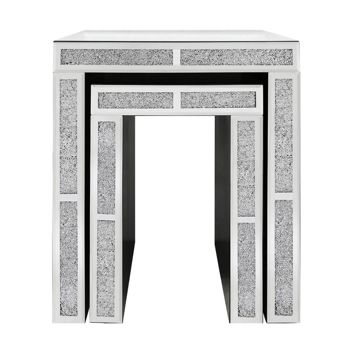 Filled Crystal Mirror Nest of 2 End Tables – Frame Of Mine Belfast