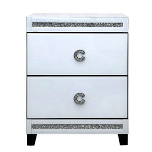 White Chic 2 Drawer Bedside Cabinet
