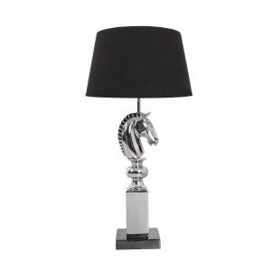Nickel Horse Head Table Lamp Black