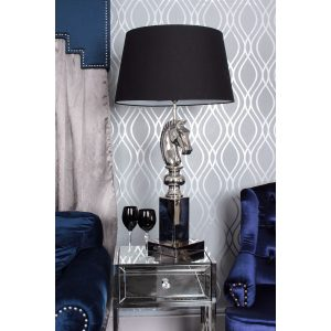 Nickel Horse Head Table Lamp Black
