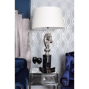 Nickel Horse Head Table Lamp Cream