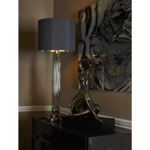 Silver Sculptured Lamp with grey shade in situ