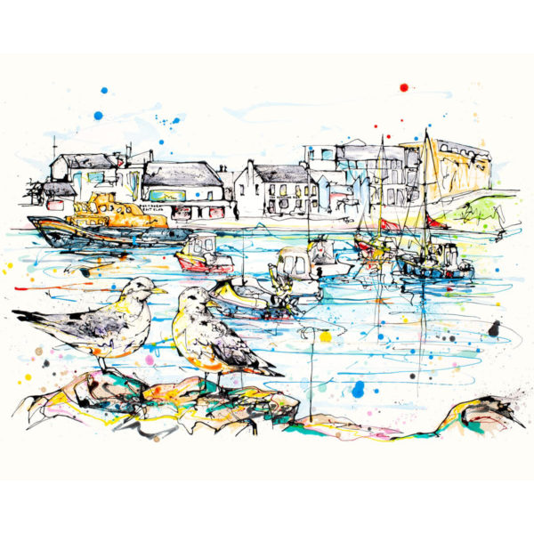 Portrush Harbour limited edition art print by Kathryn Callaghan
