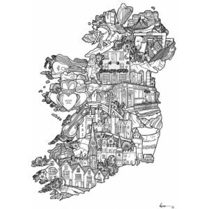 Ireland map black and white by danni simpson