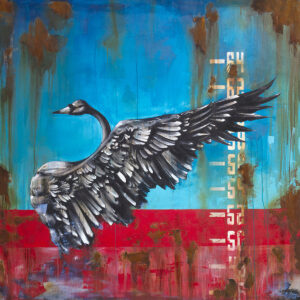 Swan On Rust Limited Edition Art Print by Tommy Fiendish